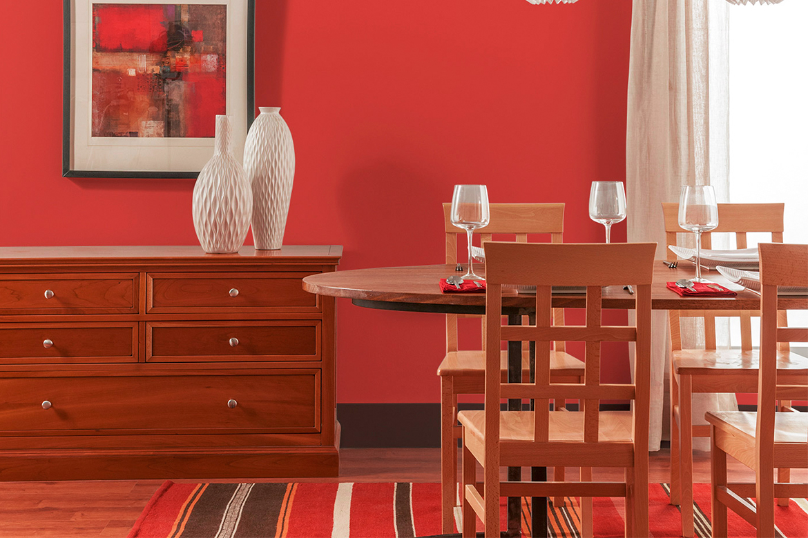 Red Color Dining Room
