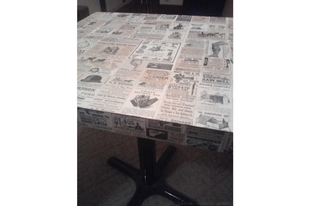 center table from newspaper
