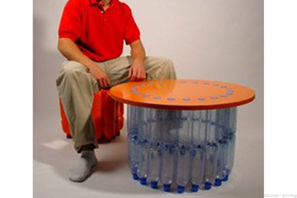 DIY table made of plastic bottle